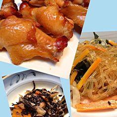 茶色い食卓…(;^_^A 手羽元はヨシダのタレに漬けて焼いた。甘辛味で美味しい( ´ ▽ ` ) - 14件のもぐもぐ - 手羽元の照り焼き・ひじきの煮物・春雨中華サラダ by tama64