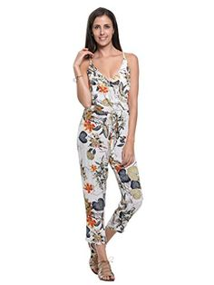 54a13add03 Persun Womens Spaghetti Strap Wrap Plunge Floral Print Cami Jumpsuit     Click on the image