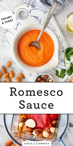 Everyone should have this easy romesco sauce recipe in their back pocket. It comes together in minutes, and it's tangy, smoky, creamy, and sweet. Perfect for livening up grilled or roasted veggies, potatoes, pasta, and more! | Love and Lemons #romesco #sauce #appetizers #dips #peppers Vinaigrette, Pesto, Sauces, Roasted Tomato Sauce, Veggie Skewers, Spanish Dishes, Veggie Noodles, Grilled Vegetables, Mop Sauce