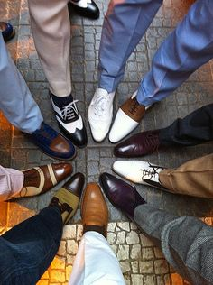Not only are the shoes great; notice the different shades of slacks.