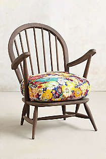 Anthropologie - Cushioned Woodwork Chair