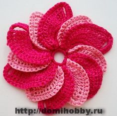 free overlapping spiral flower crochet pattern (Russian)