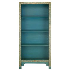 A large Chinese bookcase in blue, edged with a classic Oriental design in gold leaf The elegant design and gold leaf edging set off the striking blue finish A practical statement piece delivering stylish storage for any room, as Blue Bookshelves, Wide Bookcase, Painted Bookcases, Chinese Furniture, Oriental Furniture, Painting Bookcase, Antique Shelves, Lacquer Furniture, Pine Plywood