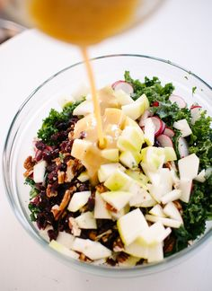 Kale Salad with Apple, Cranberries and Pecans Kale Salad with Apples, Cranberries, Pecans and Honey Mustard Dressing (adapted from Smitten Kitchen) Salad Bowls, Soup And Salad, Honey Mustard Dressing, Clean Eating, Healthy Eating, Smitten Kitchen, Big Salad, Cooking Recipes, Healthy Recipes