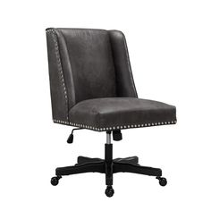 Linon Draper Gray Transitional Desk Chair at Lowe's. Add style and function to your office with the Draper office chair. The soft, plush frame is upholstered in a gray PU fabric and features a square back. Office Chairs Walmart, Home Office Chairs, Faux Leather Fabric, Transitional Office Chairs, Grey Office, Swivel Office Chair, Cool Chairs, Bar Chairs