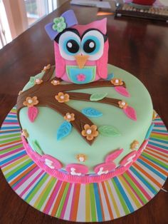 Custom girl themed owl cake for first birthday - white cake with chocolate ganache filling