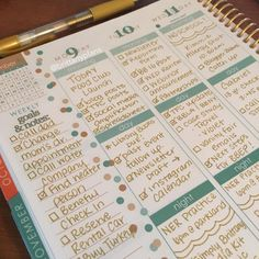Stunning gold all pen planner spread in an Erin Condren Life Planner.