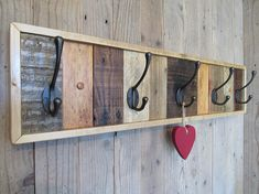 View the full range here @ www.etsy.com/shop/thecraftypiguk From pallet to gorgeous unusual rustic coat rack, it features traditional victorian style hooks for coats, bags, hats, towels and other accessories. The individual boards are glued and pinned to a 7 x 1 thick wooden base