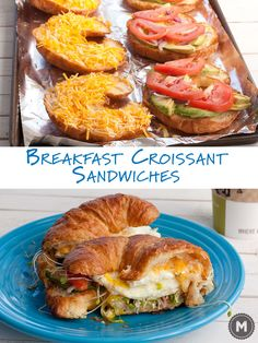 Toasted croissant breakfast sandwiches with cheese, lots of veggies, and over-easy eggs!