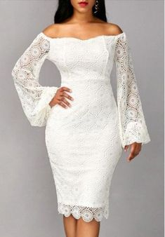 Long Sleeve Off the Shoulder White Sheath Dress Charming Prom Dresses Elegant Long Sexy Prom Dress Modest Prom Dresses All White Party Dresses, Vestidos Off White, Prom Dresses Long With Sleeves, Lace Dresses, Sheath Dresses, Dress Lace, Wedding Dresses, Sexy Dresses, Sleeve Dresses