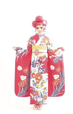 Tsurezure from Takashima Dali Hair Design Japanese Party, Japanese Geisha, Japanese Kimono, Folk Fashion, Kimono Fashion, Asian Fashion, Cute Kimonos, Modern Kimono, Summer Kimono