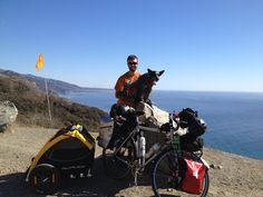 Shawn tours the Pacific Coast with his loyal friend. Rio, Loyal Friends, Trailer, Pacific Coast, Biking, Cycling, Community, Tours, Pets