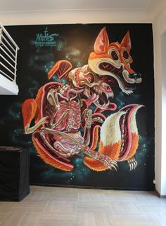 Great Concept. VULVES PELLIS OS OMENTUM. Nychos. Graffiti. Art. Dissection. Fox. Animal. Great Skill. Colorful. Fur. Wall. Inspiration. Intestines. #nychos http://www.widewalls.ch/artist/nychos/