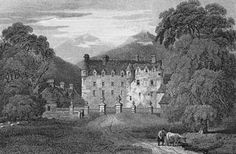 Drawing of Traquair Castle, Scotland, the longest continuously inhabited castle in the UK.  Dates back to 1107, when it was used as a hunting lodge  for royalty as it was located in Ettrick Forest.  Visitors include: Alexander I, James III, & Mary Queen of Scots.  (drawing via aboutscotland.com)