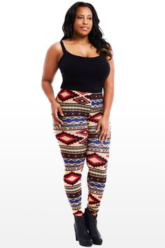 Aztec jersey print legging from @Fashion To Figure  #FashionToFigure @ftftweets #AliyahCherrisse