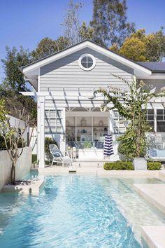 Backyard Pool Designs, Swimming Pools Backyard, Swimming Pool Designs, Pool Landscaping, Beach House Designs, Backyard Beach, Hamptons House, The Hamptons, Hampton Pool
