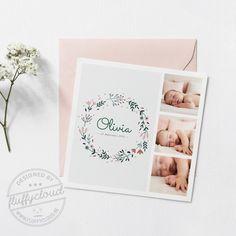 Geboortekaartje met bloemenkrans en foto's