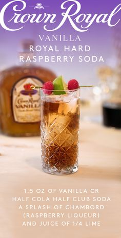 Hosting this holiday season calls for a Crown Royal drink that's savory, sweet, and mixes in the rich flavor of vanilla. Whether you're baking a cake, pie, or trays of cookies, make sure you take a break and treat yourself with a cold cocktail. To mix up a Vanilla soda, add 1.5 oz Crown Royal Vanilla and 2 oz cola and 2 oz Club Soda in a glass with ice. Top with a splash of Raspberry Chambord Liqueur and the juice of 1/4 a lime and enjoy a final moment of peace before the in-laws arrive.