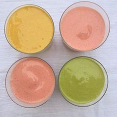 A smoothie for everyone and cleaning out the fridge at the same time.  All smoothies had a base of cold, leftover oatmeal, frozen banana, homemade almond milk and chia seeds.  Added spinach and maca to one; turmeric, cooked carrot and orange to another; f