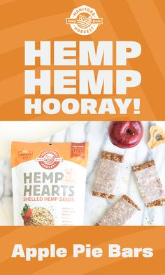 Hemp makes it super! Whip up a batch of these protein-packed Apple Pie Bars made with Manitoba Harvest Hemp Hearts! Hemp Hemp Hooray!