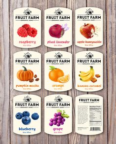 Package design for organic jams. Features fruit digital illustrations.Photo…
