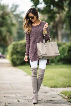 fall / winter - street style - street chic style - casual outfits - burgundy heather knit tunic + white skinny jeans + light grey heeled over the knee boots + nude handbag + black sunglasses