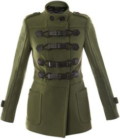 Burberry Prorsum Green Bonded Technical Stitch Duffle Coat
