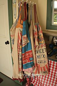 Aprons made from vintage grain sacks:)