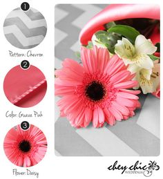 Lovely combination for your wedding! Silver Chevron with Guava Pink accents and pink Daisies! --Chey Chic Weddings