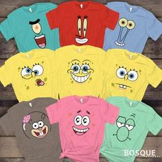 Sponge Starfish and Friends Group Face Costume Halloween Family Squad Matching Cartoon Characters Tee Shirt Girl Group Halloween Costumes, Diy Couples Costumes, Group Costumes, Halloween Outfits, Costume Halloween, Couple Costumes, Spongebob Halloween, Spongebob Birthday Party, Spongebob Costume Diy