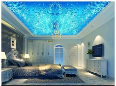 Customized 3d wallpaper 3d ceiling murals wallpaper Beautiful blue water wave water lines suspended ceiling frescoes wall decor