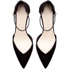 Zara Basic High Heel Ankle Strap Shoe With Heel Back ($60) via Polyvore
