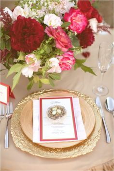 red and gold place setting / photographed by Tonya Joy