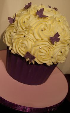 Puple Butterfly Giant Cupcake   by Cakes by Occasion .... love the deco with the butterflies