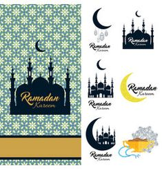 ramadan kareem icon set card with mosque and