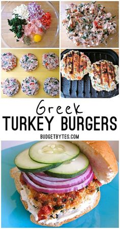 Healthy Recipes Greek Turkey Burgers are a healthy mix of ground turkey and Mediterranean flavors. - Spinach, lemon, feta, garlic, and dill pack a lot of flavor into these healthy and delicious Greek Turkey Burgers. Greek Turkey Burgers, Turkey Burger Recipes, Healthy Burger Recipes, Healthy Turkey Burgers, Healthy Greek Recipes, Ground Turkey Burgers, Greek Burger, Turkey Feta Spinach Burgers, Stuffed Turkey Burgers