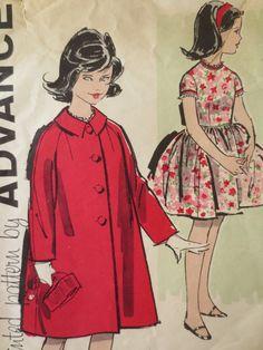 Vintage Advance 9650 Sewing Pattern, 1950s Dress Pattern, Girls Dress and Coat, 1950s Coat Pattern Breast 30, Raglan Sleeves, 50s Full Skirt