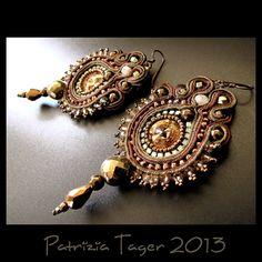 Enchanted+Forest++Soutache+Earrings+in+Dark+Bronze+Brown+by+triz,+$112.00