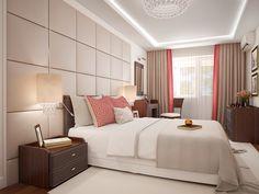 Интерьер спальни в бежевых тонах с розово-бородвыми акцентами, трехкомнатная квартира в г. Москва.