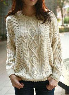 beige round neck broken stripe cable sweater