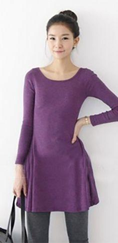 Purple O-Neck Long Sleeve Flared Tunic Mini Dress
