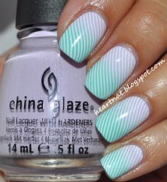 China Glaze Sweet Hook and China Glaze Aquadelic and then stamp using MASH 40 in Konad White.