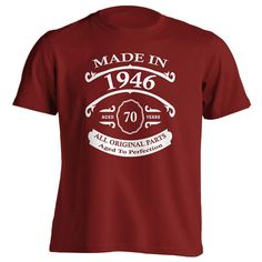 70th Birthday Gift T-Shirt - Born In 1946 - Vintage Aged 70 Years To Perfection - Short Sleeve - Mens - Red - X-Large T Shirt - (2016 Version)