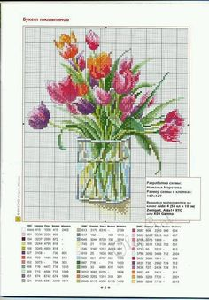 A gentile richiesta...schemi di vasi a punto croce per Lucia / Cross stitch vases and baskets of flowers, charts