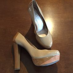 BCBG pumps. Pretty/sexy pumps! Nude with pink and tan accent colors. Minor scuffs (see pics), haven't tried to remove. Only worn once, bottoms are perfect! BCBG Shoes Heels
