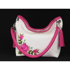 930cd7e55d Pink Roses on White Slouchy Hobo Leather Bag ( 150) ❤ liked on Polyvore  featuring