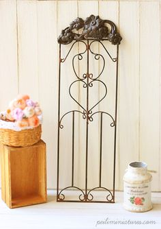 Dollhouse Accessories - French Style Wrought Iron Grill Door - Dollhouse Home Decor