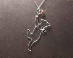 Cat Catch Love - Sterling Silver Cat Pendant Necklace, Cat Necklace, Crystal beads Necklace
