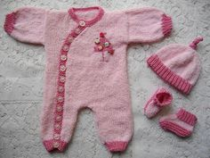 Knitting Pattern No.11 Newborn Side Buttoning Romper Set