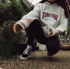 [ID] Can someone ID this Thrasher Hoodie pls Aesthetic Hoodie, Aesthetic Clothes, Aesthetic Girl, Hoodie Outfit, Vans Outfit, Shirt Over Hoodie, Cute Casual Outfits, Retro Outfits, Disney Outfits